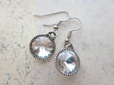 Bridal Swarovski Rivoli clear earring  12 mm by Objectsandoddities