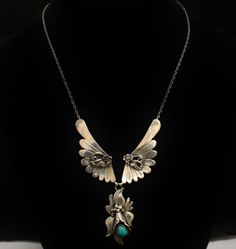 Les Baker Turquoise Necklace Sterling Calla Lily 18.5 by june2six