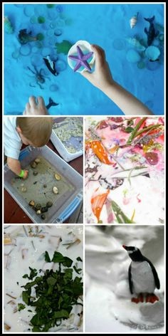 45+ Nature inspired sensory bins. Small world sensory play for all year long to let children explore nature. Make learning permanent by learning through play!