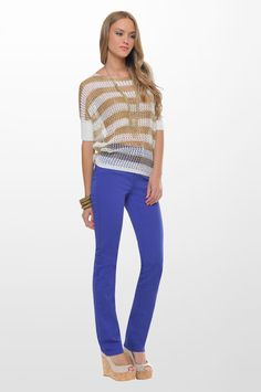 87478bd02df Sarah Lawrence - short sleeve knitted blouse with lurex, five pocket  straight leg pant.
