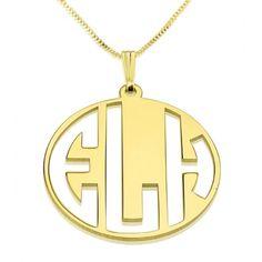 24k Gold Plated 3 Capital Letters Negative Font Monogram Necklace