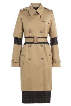 Cotton Trench Coat with Plaid Panels - Maison Margiela | WOMEN | GB STYLEBOP.COM