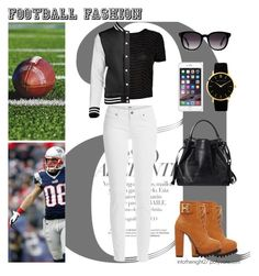 """#103 - Game On! Fun Football Fashion"" by intothenight27 ❤ liked on Polyvore featuring Nico, Paige Denim, Fendi and Larsson & Jennings"