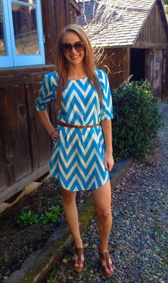 BACK IN STOCK: Newport Chevron Dress in Blue