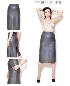 Leather Skirt 90s Midi Skirt High waisted skirt Genuine Leather Grey Skirt Sexy Skirt Size S/36 Women's Clothing Elegant by SixVintageChicks on Etsy