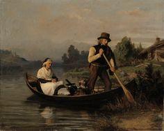 Alexandra Frosterus-Såltin (1837-1916) Venematka hautausmaalle / Rowing to the Graveyard 1861 - Finland - Finnish dog