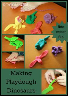 Making playdough dinosaurs and other hands on activities for a dinosaur unit.
