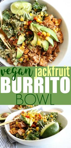 Burrito Bowl These Jackfruit Burrito Bowl are a perfect low carb, gluten free, and vegan weeknight dinner. So simple and delicious!These Jackfruit Burrito Bowl are a perfect low carb, gluten free, and vegan weeknight dinner. So simple and delicious! Veggie Recipes, Whole Food Recipes, Vegetarian Recipes, Cooking Recipes, Healthy Recipes, Fresh Jackfruit Recipes Vegan, Vegan Bowl Recipes, Canned Jackfruit, Aloo Recipes