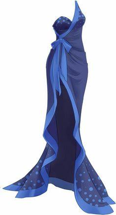Blue dress, ribbon, clothing design; Drawing References