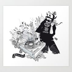 GOD IS A DJ Art Print by Kravic