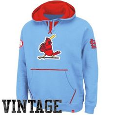 Majestic St. Louis Cardinals Cooperstown Collection Fly Ball Vintage Hoodie - Light Blue