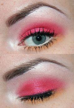 Eyes:  NYX Eyeshadow Pencil - White, Hot Pink  MAD Minerals Multi Use Pigment - Rave, Wedding  Ninja Minerals Multi Use Pigment - Mandarin  Viva La Diva Eyeshadow - 391  IsaDora Inliner Kajal - Indian Black (51)  Maybelline Define-a-Line - Black  Maybelline Define-a-Lash Volume