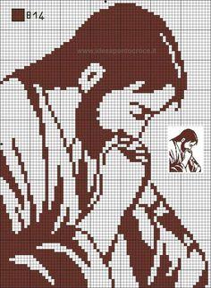 Filet Crochet Charts, Crochet Doily Patterns, Embroidery Patterns, Loom Patterns, Crochet Stitches, Cross Stitching, Cross Stitch Embroidery, Hand Embroidery, Religious Cross Stitch Patterns