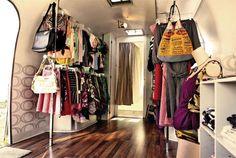 hitch couture - a traveling dress shop inside a vintage camper.