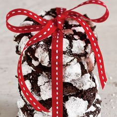 These chewy chocolate crinkle cookies can be baked and frozen for up to 1 month. Let them thaw at room temperature for 30 minutes before serving.