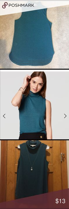 Loft Sleeveless Tunic **NWT** Teal sleeveless tunic. Small turtleneck. Great for layering, or by itself. LOFT Tops