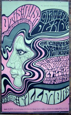 [Psychedelic rock poster] Wes Wilson, Venue: Fillmore Auditorium, San Francisco, CA Rock Posters, Band Posters, Hippie Posters, Psychedelic Art, Psychedelic Typography, Vintage Concert Posters, Posters Vintage, Retro Posters, Poster Art