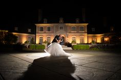 Lovely night shot of bride and groom at their wedding held at Lucas Estate in Carmel, IN Photo by: Vow & Forever vowandforever.net