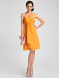 A-line One Shoulder Knee-length Chiffon Bridesmaid Dress – USD $ 67.99