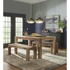 Home Decorators Collection Edmund Smoke Grey Dining Table 1514000980 - The Home Depot Modern Dining, Grey Dining Tables, Modern Home Offices, Dining Room Glam, Home Decorators Collection, Dining Room Industrial, Classic Kitchens, Modern Farmhouse Dining Room, Black Buffet