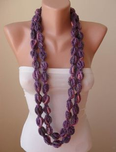 Wool Crochet Knit Necklace Chain Scarf  Lilac  Soft  by Umbrellaa, $14.00... Someone make one for me? :p