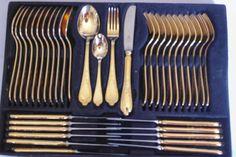 Bestecke Solingen 23/24K gold plated Wien design cutlery 12 place ...
