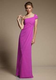 Style 648 Chiffon  Colors: Shown in Berry. Please refer to the Mori Lee Chiffon color swatch card. Sizes Available: 2-28.