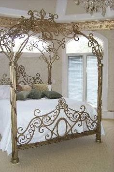 this gold bed in an otherwise all black bedroom. For my daughters Fairytale Bedroom, Dream Bedroom, Victorian Bed Frames, Wrought Iron Beds, Gold Bed, Dreams Beds, Shabby Chic Bedrooms, Iron Decor, House Beds