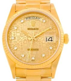 Rolex President Day-date Jubilee Diamond 18k Yellow Gold Watch 18038. Get the lowest price on Rolex President Day-date Jubilee Diamond 18k Yellow Gold Watch 18038 and other fabulous designer clothing and accessories! Shop Tradesy now