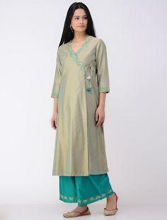 Green Embroidered Cotton-silk Angrakha Kurta Silk Kurti Designs, Kurta Designs Women, Salwar Designs, Designs For Dresses, Dress Neck Designs, Blouse Designs, Kurta Patterns, Kurta Neck Design, Pakistani Dress Design