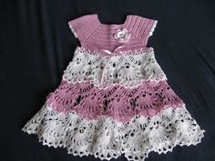 Click to view pattern for - White and pink dress for baby