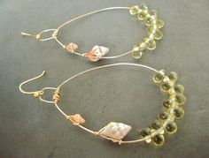 Gold Wire Earrings with Shell and Glass Beads by PoluMoana on Etsy, $35.00