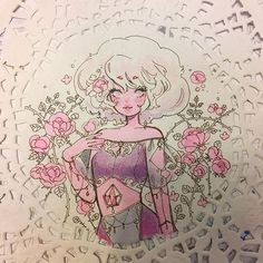 I started this Pink Diamond doily over the weekend but stopped bc there are several things I wanna change, so I'm going to use my light box… Rose Quartz Steven Universe, Perla Steven Universe, Fanart, Anime Drawing Styles, Cute Art Styles, Universe Art, Sketchbook Inspiration, Copics, Weekend Is Over