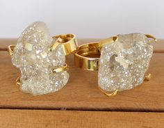 Large Raw Sparkling Beige Geode Stone encased in Gold Plated Prong Setting atop Adjustable Band Ring