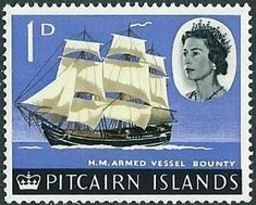 """Stamp: H. """"Bounty"""" - surcharged (Pitcairn Islands) (First Decimal Currency Definitives) Mi:PN 70 Hms Bounty, Mutiny On The Bounty, Stamp Catalogue, Old Stamps, Pitcairn Islands, Commonwealth, Stamp Collecting, Elizabeth Ii, Postage Stamps"""