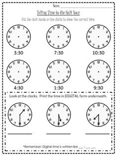 This worksheet goes with the O'Clock one and asks students to tell time to the half hour.  Enjoy this FREEBIE!