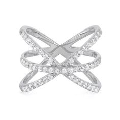 Lab-Created White Sapphire Crisscross Ring in Sterling Silver available at #HelzbergDiamonds