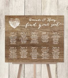Rustic Wedding Seating Chart Sign DIY / Rustic Wood Sign, White Calligraphy / Find Your Seat / Customized Sign ▷Printable PDF