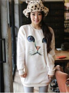 Cute Cat Face Cotton Long Hoodie