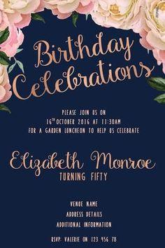 Women's Birthday Digital Printable Invitation- Rustic Wreath