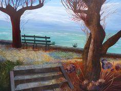 Artwork >> Sancelme Marie-Noelle >> Atlantic coast  #artworks, #nature, #paining, #masterpiece, #trees, #water, #sea