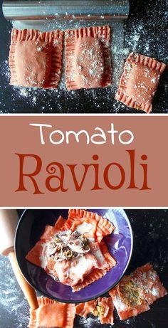 TOMATO RAVIOLI WITH CREAMY MUSHROOM SAUCE- Tomato Ravioli made with Squash filling and served with a creamy mushroom sauce. Quick and simple vegetarian pasta recipe. Perfect dinner meal especially on Valentine's Day. Creamy Mushroom Sauce, Creamy Mushrooms, Stuffed Mushrooms, Mushroom Ravioli, Wild Mushrooms, Vegetarian Pasta Recipes, Vegetarian Dinners, Cooking Recipes, Cooking Tips