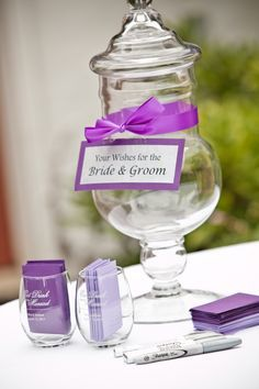 Wish jar for the bride and groom. Great to have near the guest book and the wedding reception.