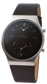 Amazon.com: Skagen #733XLSLB Men's Dual Time Zone Slim Leather Band Dress Watch: Watches