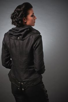 Black herringbone tailored jacket with hood and leather accents. $275.00, via Etsy.