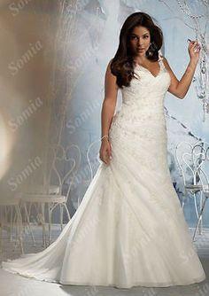 e8088282bccc Plus Size V Neck Wedding Dress Organza Bridal Gown Custom Size 18 20 22 24  26 28