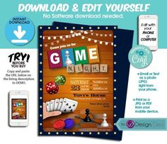 Printable Invitations, Party Invitations, Cute Games, Ea Games, Invitation Design, Invite, Phone Games, Online Print Shop, Grad Parties