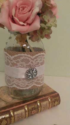 rustic centerpiece for burlap wedding, lace wedding mason jar centerpiece, vintage wedding burlap decorations, barn wedding glass decor ideas
