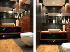 This picture was an inspiration for the project of our bathroom on the ground floor - love the combination of black and this very shade of wood