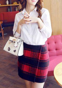Plaid Short Wrap Skirt